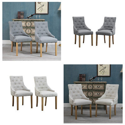 Set of 2/4/6 Dining Chairs Side Chairs Button Tufted Fabric Padded Seat Grey BN Button Tufted Seat
