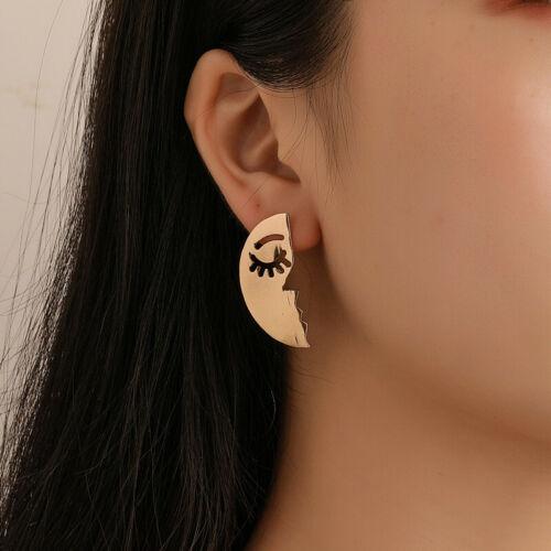 Women Gold Earrings Set Fashion Trendy Jewelry Half Moon Fac