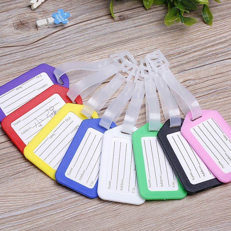10X Plastic Suitcase Luggage ID Tags Labels NAME ADDRESS ID
