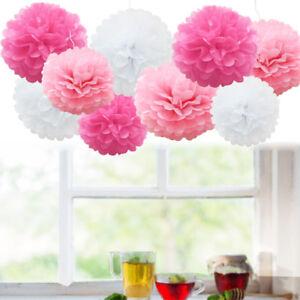 Paper pom poms home furniture diy ebay 9pcs wedding decorations tissue paper pompoms 2 sizes party pom poms mightylinksfo