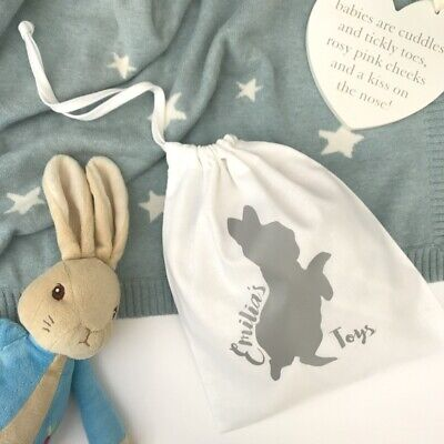 Personalised Peter Rabbit Toy Bag, Kids Easter Gift, Toy Storage, Baby Gift Idea (Baby Storage Ideas)