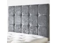 Delivery 7 Days aWeek CRUSHED VELVET Double Bed Extra High Big Headboard Mattress Option