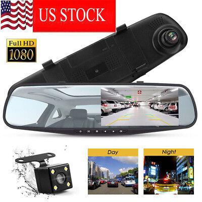 HD LCD Mirror Monitor Dash Cam Dual Lens Car DVR Reverse-+ Rear View Camera Kit