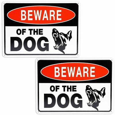 2pcs Beware Of Dog Aluminum Durable Sign 10 X 7 For Indoor And Outdoor Garden