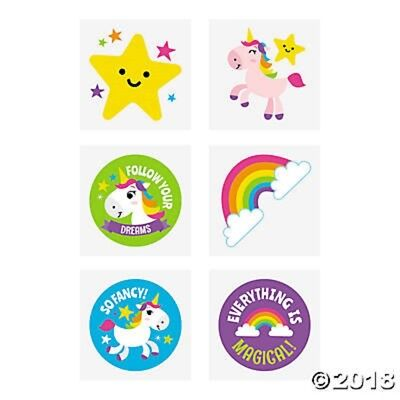 Rainbow Tattoos (72 Unicorn Rainbow Girls Magical Temporary Tattoos Birthday Party Favors Gifts)