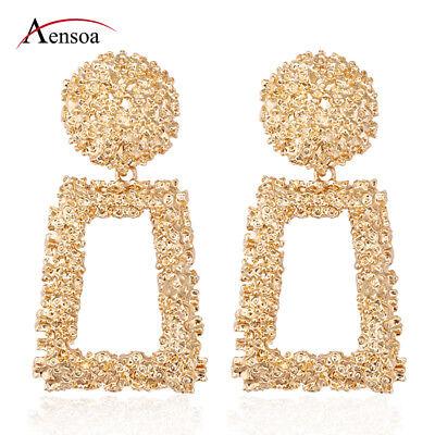 New Women Gold Silver Geometric Statement Drop Dangle Earrings Wedding (Golden Wedding Earrings)