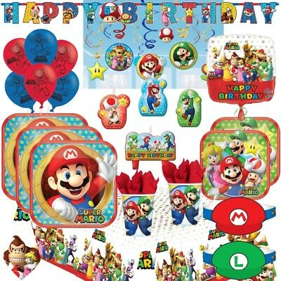 Super Mario Plates (Super Mario & Luigi Party Supplies Plates, Cups, Napkins, Balloons, Banners,)