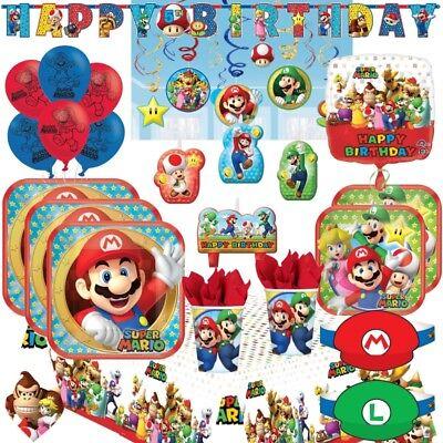 Super Mario & Luigi Party Supplies Plates, Cups, Napkins, Balloons, Banners, Bag