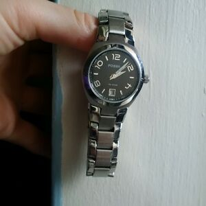 Silver Fossil Watch - Black with Gold Numbers