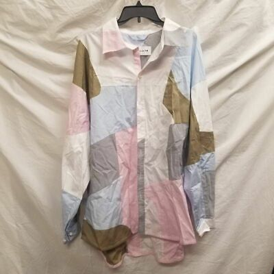 A. A. Spectrum Mens Button Front Shirt Pink Blue Color Block Long Sleeve M New