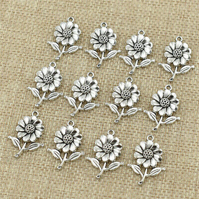 10Pcs Silver Charms Sunflower Flower Pendant Beads DIY Craft Accessories Gifts (Sunflower Charm)