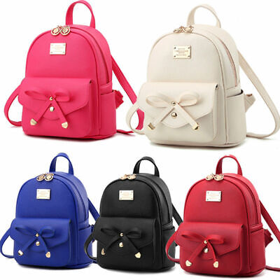 Girls Bowknot Bag PU Leather Backpack Mini Backpack Purse for Women Popular Lot ()