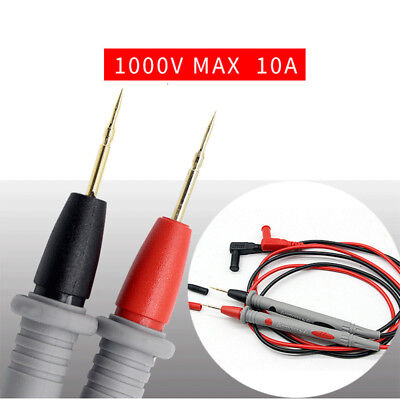 1 Pair Digital Multimeter Test Lead Probe Wire Pen Cable Needle Tip 1000v 10a