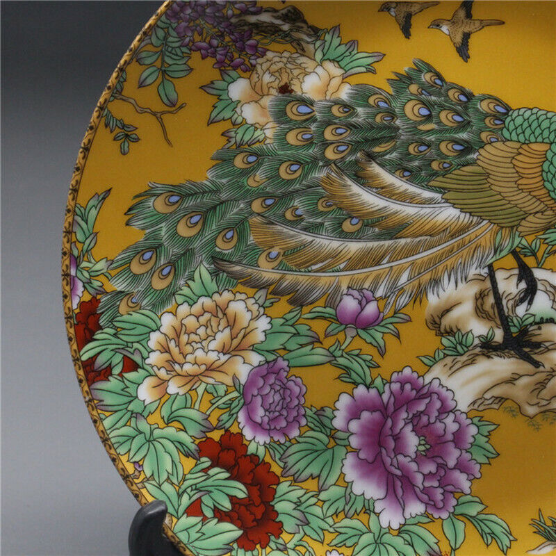 Chinese Rose Porcelain painted Yellow Peacock Plate Qianlong Mark