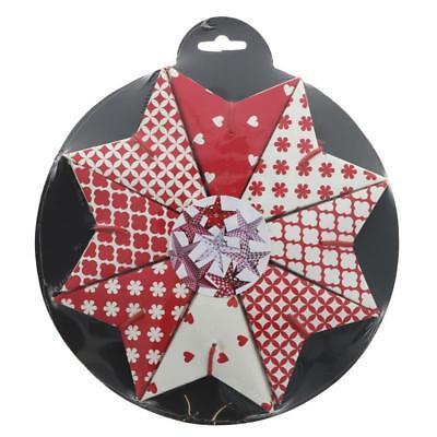 NAMASTE | Red / White Print Paper Stars | 1 x 8pack