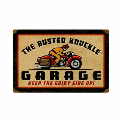 "BUSTED KNUCKLE GARAGE RETRO BIKE RIDER 18"" HEAVY DUTY USA MADE METAL ADV SIGN"