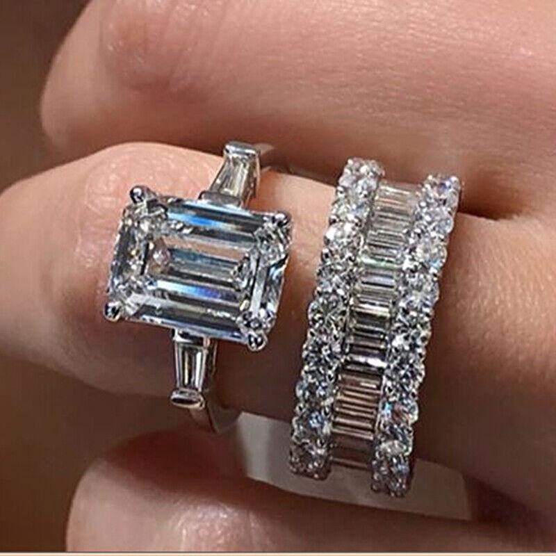 Fashion 2pcs/set 925 Silver Rings Women Emerald Cut Cubic Zirconia Size 6-10