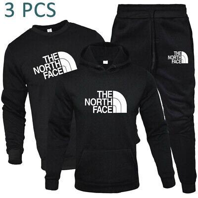 3PCS Mens Tracksuit Sets Jogging Hoodie Bottoms Sweatpants Trousers Sports Suit