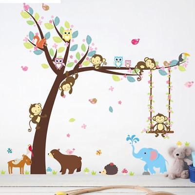 Animals Wall Stickers Zoo Tree Nursery Baby Kids Room Decal Art DIY Jian