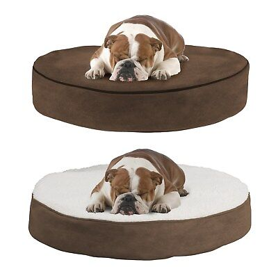 Medium Round 30 Inch Pet Dog Bed Memory Foam Pillow Top Reversible 5 Inch High - Memory Foam Round Dog Bed