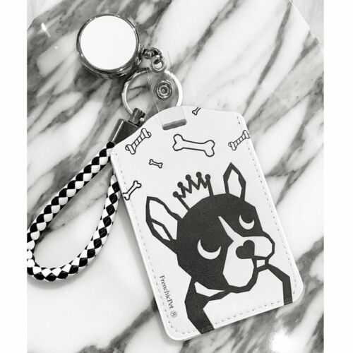 French bulldog keychain or necklace or retractable ID badge clip Free shipping Gift