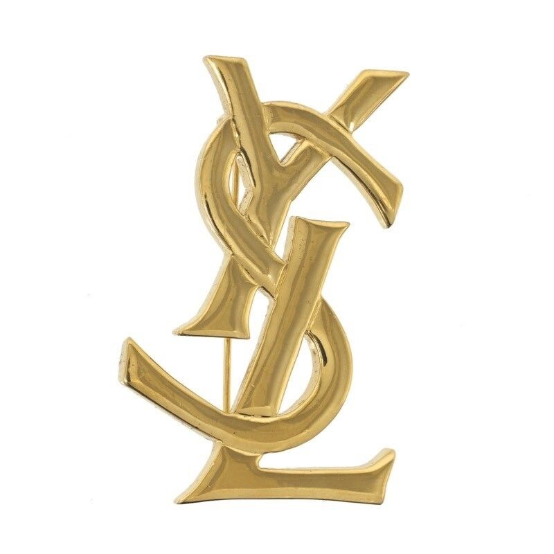 9bcbbde6512 Details about Vintage Yves Saint Laurent New YSL Gold Large Logo  Brooch.NFV5008