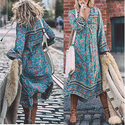 Dress - Vintage Womens Boho Long Maxi Dress Plus Size Summer Casual Beach Loose Sundress
