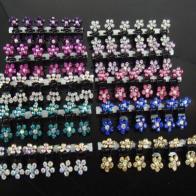 - 6/12 PCS Girls Sweet Rhinestone Crystal Flower Mini Hair Claws Clips Clamps CA R
