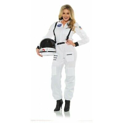Female Astronaut Costume (Underwraps Female Astronaut NASA White Adult Womens Halloween Costume)