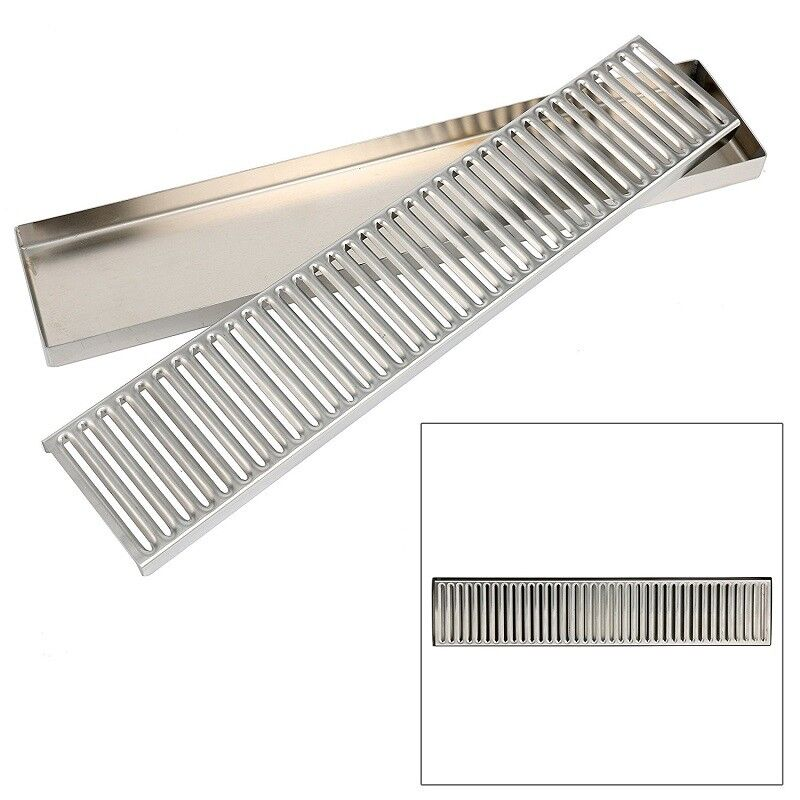 """19"""" Rectangular Stainless Steel Beer Drip Tray Surface Mount No Drain Free Ship"""