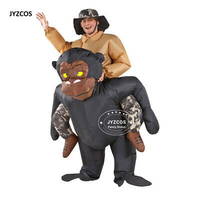 Gorilla Costume Adult Inflatable Blow Up Animals Illusion Dress Halloween Suits