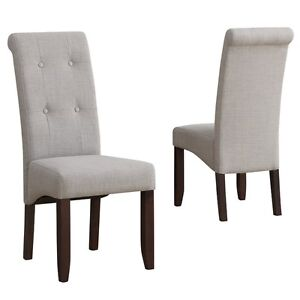 New: 2-Cosmopolitan Deluxe Tufted Parson Chair, Dove Grey