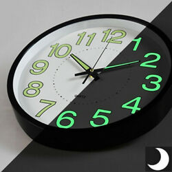 Wall Clock 12 Inch Luminous Glow In The Dark Quartz Bedroom Watch Fluorescence