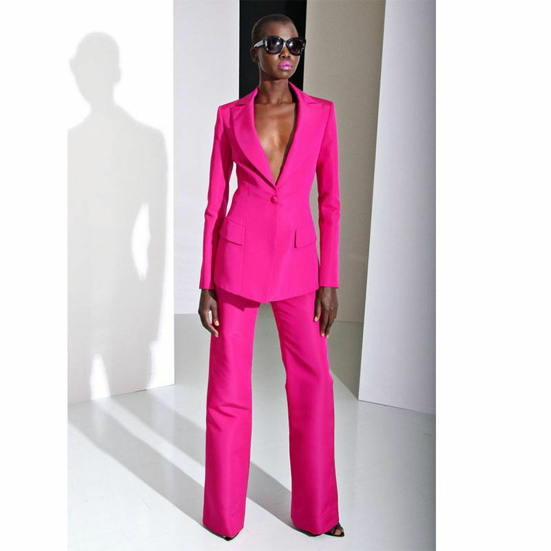 Rose Red Womens Business Suits Formal Pant Suits For Weddings Tuxedo Blazer Set Ebay