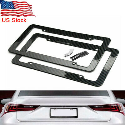 2pcs Car Carbon Fiber Black Front Rear License Plate Frame Cover with Screws US Gmc Van Accessories