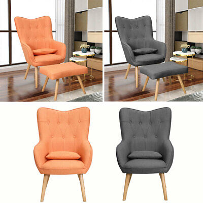 Upholstered Vintage Wing Tufted Button Armchair Lounge Fabric Wingback Tub Chair