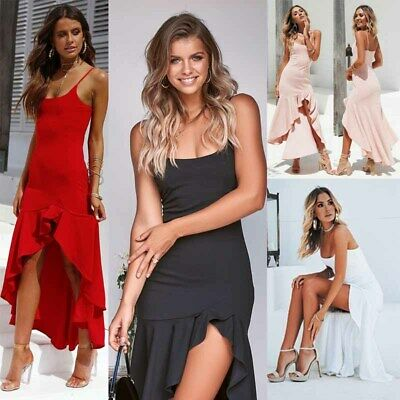 Women Elegant Sleeveless Midi Dress Casual Ruffles Party Dresses Beach Sundress