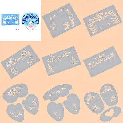 Face Painting Accessories (Various Reusable Soft Face Painting Stencils Body Tattoo Accessories DIY)