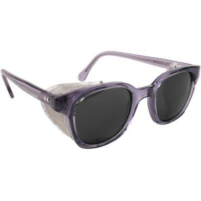 Bouton Traditional Safety Glasses Smoke Frame Mesh Sideshields Gray Lens
