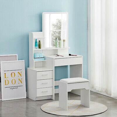 White Dressing Table Wood Makeup Desk with Mirror 4 Drawers Stool Vanity Table
