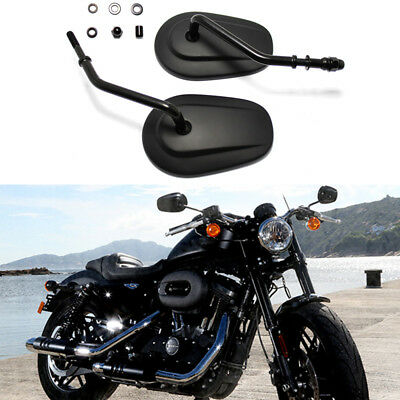 Motorcycle Aluminum Black Tapered Short Stem Custom Mirrors Rearview For Harley ()