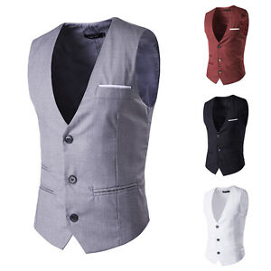 Moderno-Hombre-Camiseta-Vestido-Casual-Formal-Chaleco-Negocios-Chaqueta-Traje