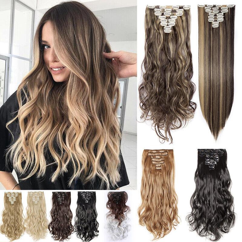 wie Echthaar Clip In Extensions Kunsthaar Haar Haarverlängerung 8 teilig Set DE