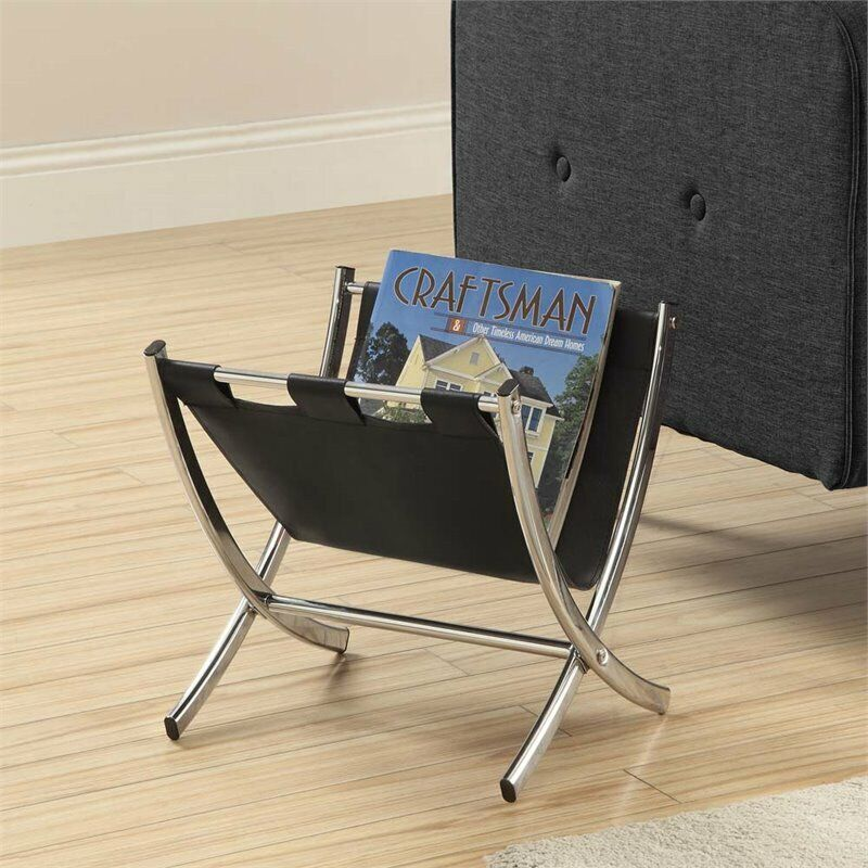 Monarch Faux Leather Magazine Rack in Black and Chrome