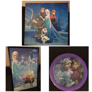(All for $10) 2 frozen pictures & clock- excellent cond.