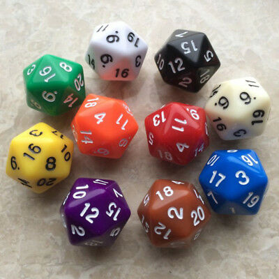 6pcs Acrylic Dice D20 Random Color Polyhedral Dice Set 20 Sided Lot Game D&D RPG