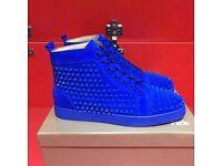 christian louboutin blue seude high top sneaker shoes size 4-11 uk no adidas nike yeezy nmd