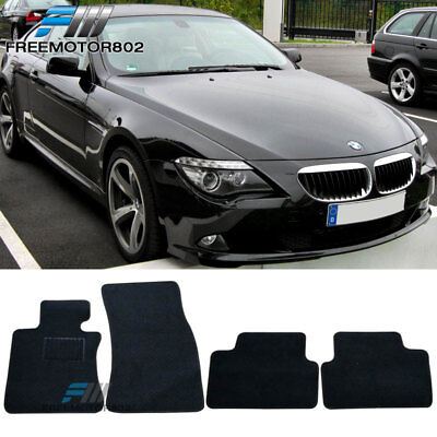 For 07 10 BMW E63 E64 M6 6 Series Black Nylon Floor Mats Carpets 4PC