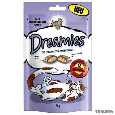 6x60g Dreamies Snack mit Ente Katzensnack Knuspersnack mit Füllung kalorienarm