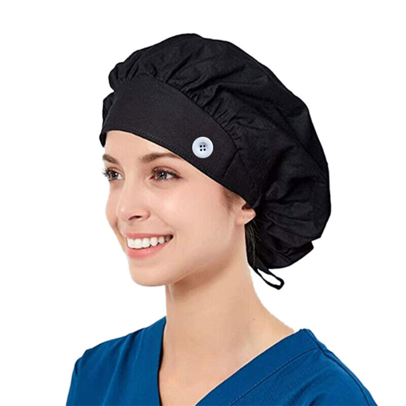 Womens Mens Scrub Cap Nurse Chemo Cotton Hat Sleep Bonnet with Buttons Hadwear Clothing, Shoes & Accessories